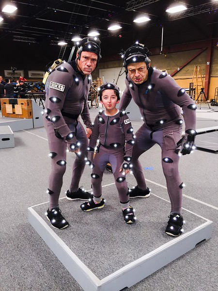 "Actors Terry Notary, Andy Serkis and Casey Wright on the set of "" War for the Planet of the Apes"""