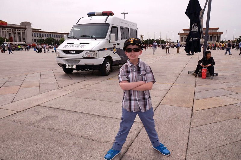 Casey Wright in Tiananmen Square in Beijing china
