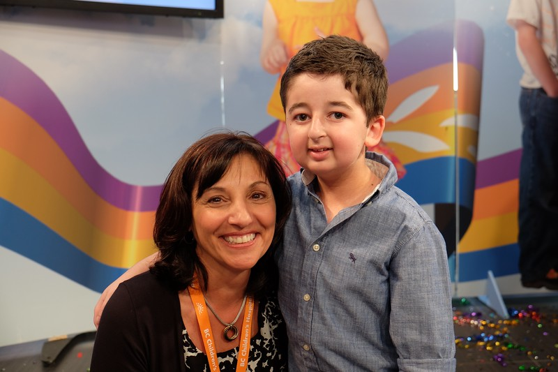 Teri Nicholas, President & CEO of BC Children's Hospital Foundation with Casey Wright at Miracle Weekend telethon