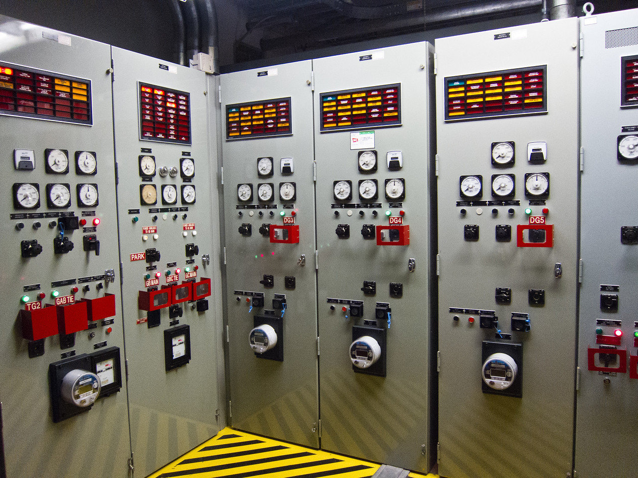 Emergency generator control panels.