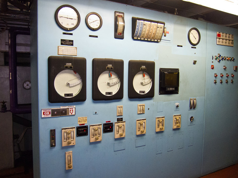 The control panel for one of the boilers.