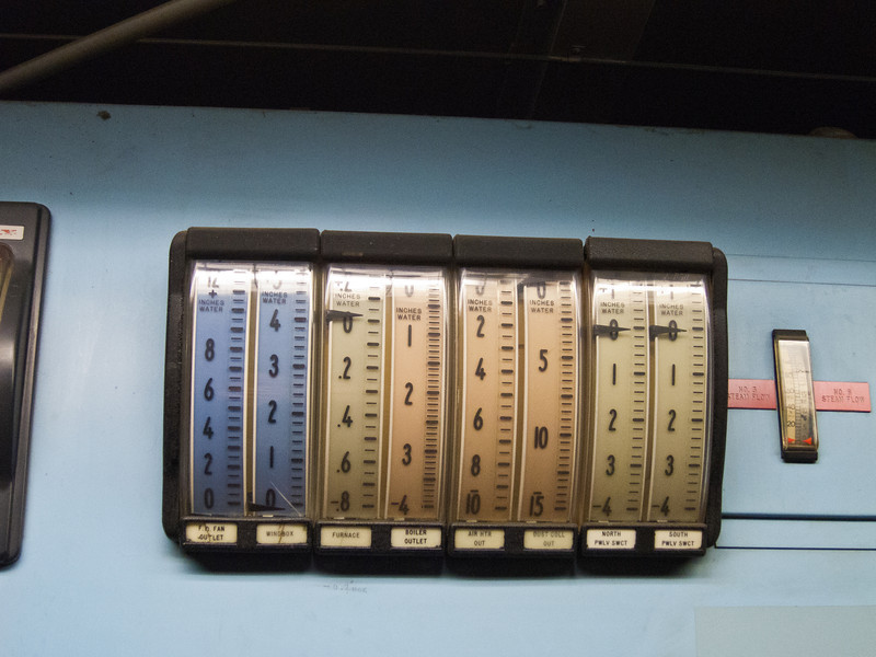 Mechanical gauges run by a pneumatic control system.
