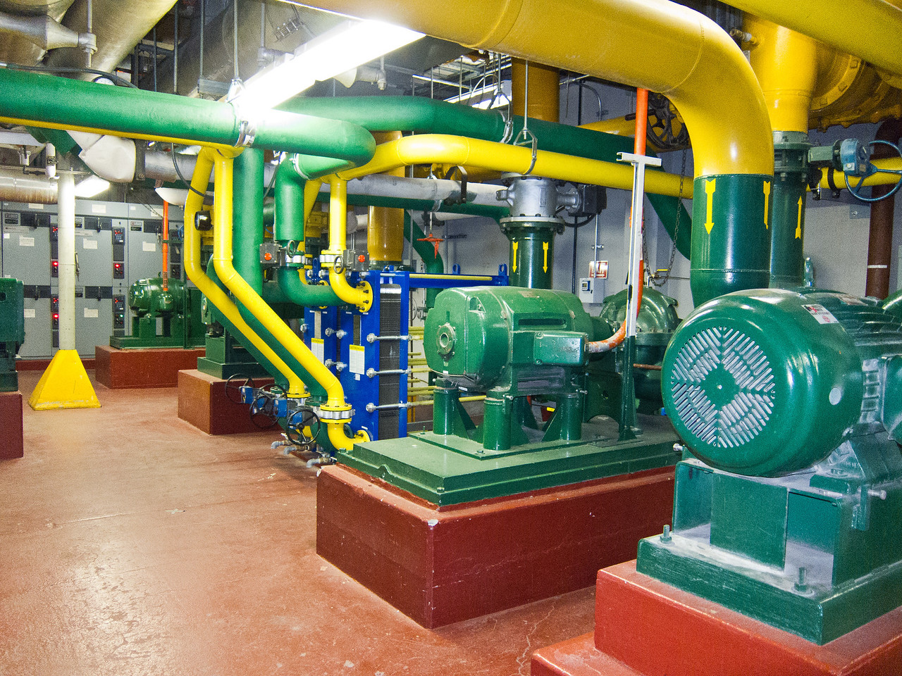 Several pumps. Most of the pipes are color coded. This place is amazingly clean for a huge industrial installation. It is clear that maintenance is taken seriously.