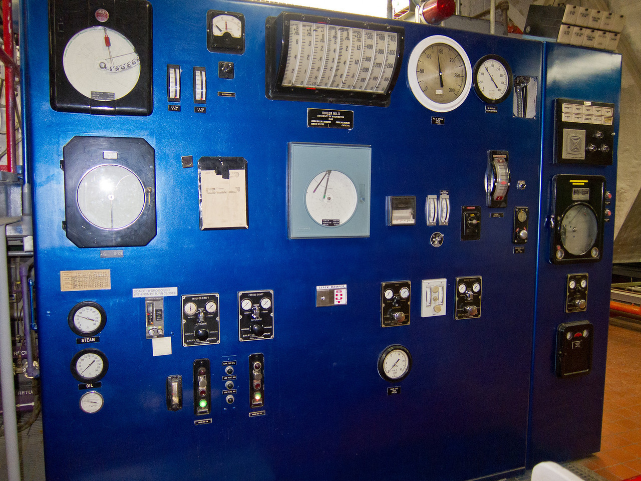 The control panel (recently painted) for the oldest boiler.