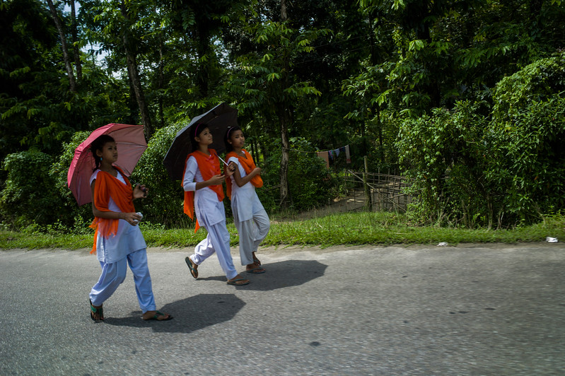Dhemanji, Assam, India August,2014:   Young girls return form school near Dhemanji town. Girls who attend high schools generally stop their studies when they are 13/14 and get married.  Series on early marriages in Assam, India for Al Jazeera America.       Photo:  Sami Siva