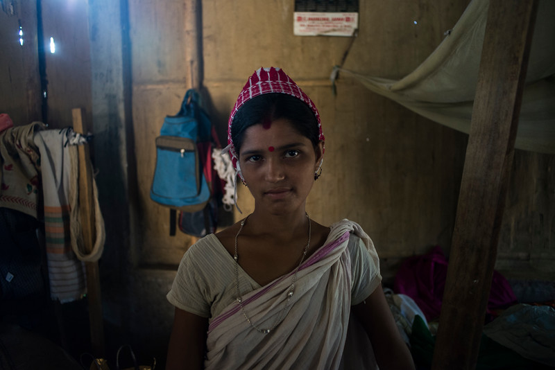 Dhemanji, Assam, India August,2014:   Jayamani Das (18) married with two children seen at her home in Simen Koi Bata village in Dhemanji District, Assam.   Series on early marriages in Assam, India for Al Jazeera America.       Photo:  Sami Siva