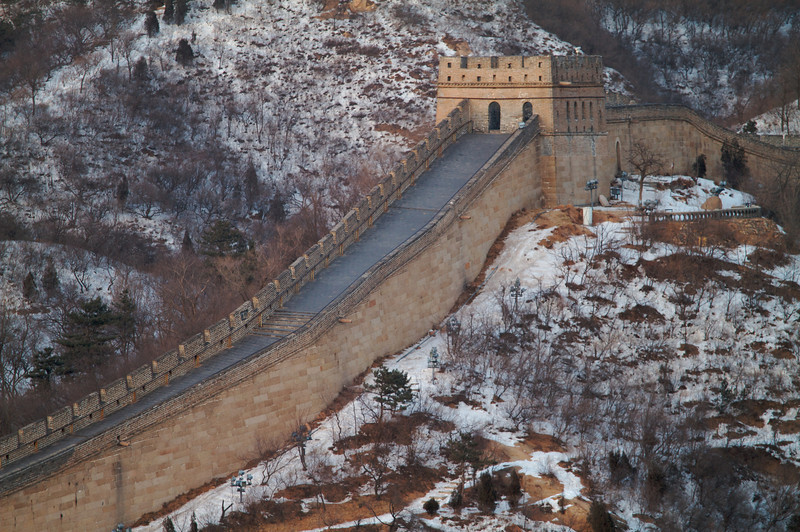 This section of the Great Wall of China is found at Badaling Pass, about 60 miles north of Beijing. It is the most heavily trafficked section of the Wall yet is completely devoid of people here.