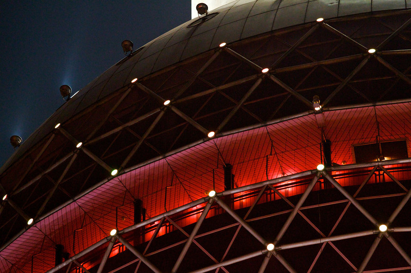 Detail of the 90m-high sphere on the Oriental Pearl Tower.