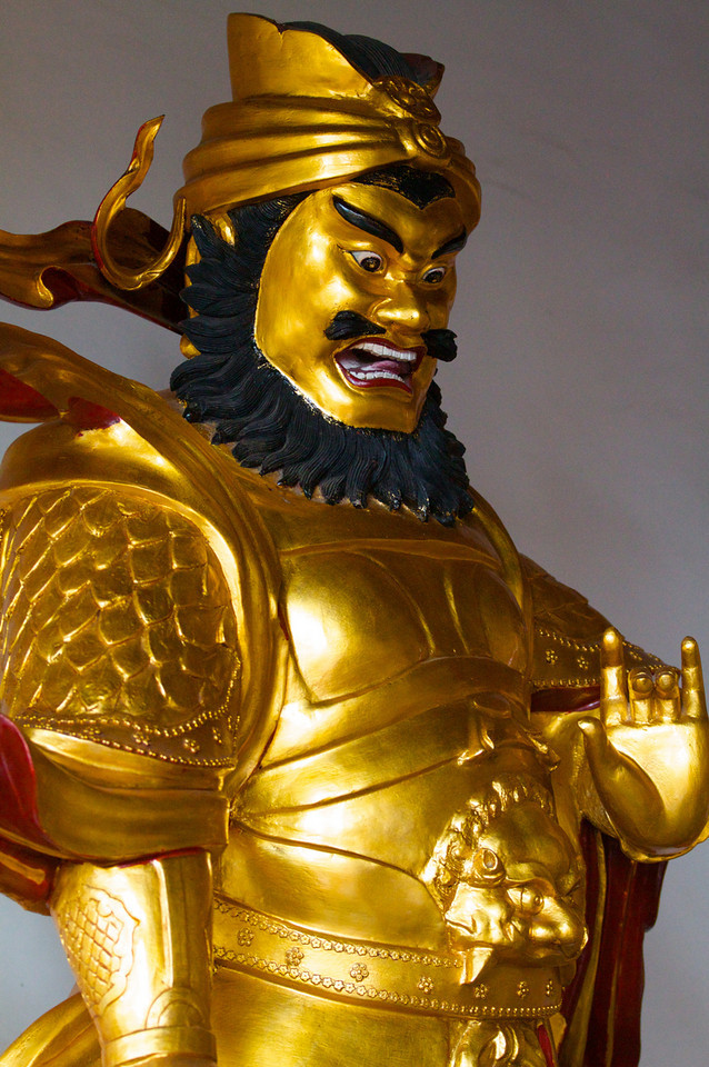 A warrior statue in a Buddhist temple in Xitang.