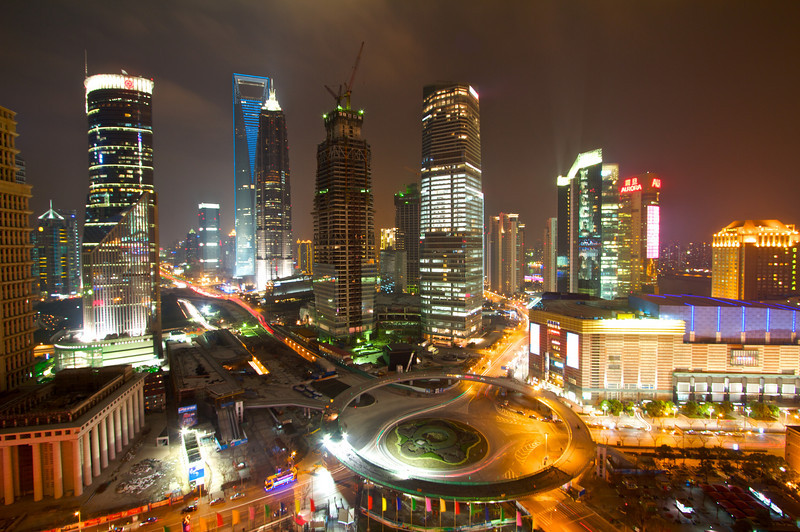 A nighttime Pudong skyline as shown from the Oriental Pearl Tower.