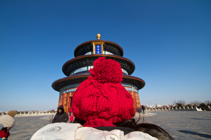 The Temple of Heaven juxtaposed against a poofy hat.