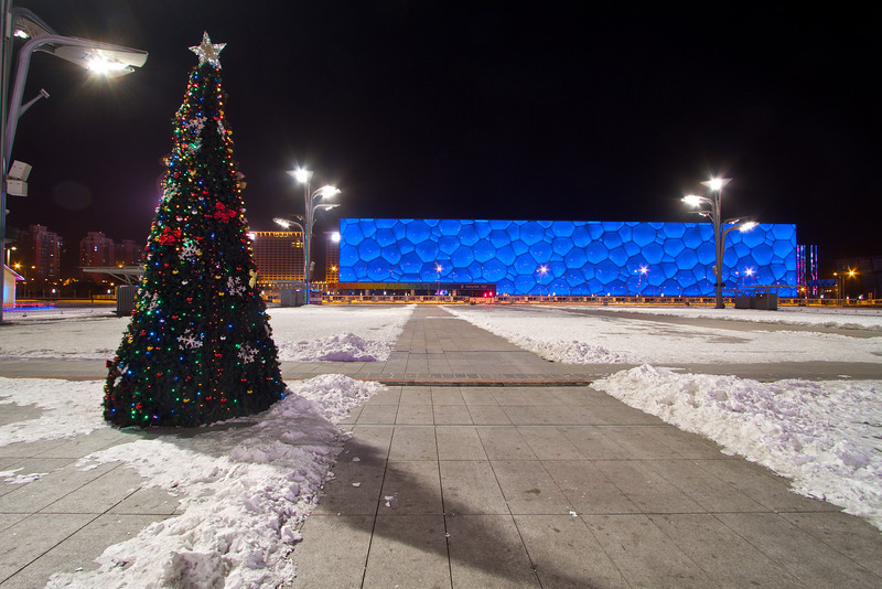 A Christmas tree stands near the Beijing National Aquatics Center.