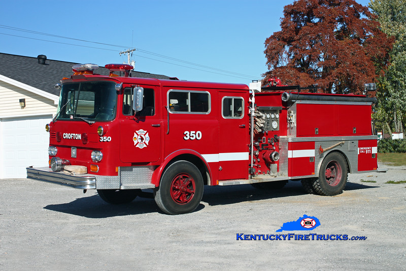 <center> Crofton  Engine 350  <br> x-FDNY; Central City, KY <br> 1978 Mack CF/Panama Fire 1000/1000 <br> Kent Parrish photo </center>