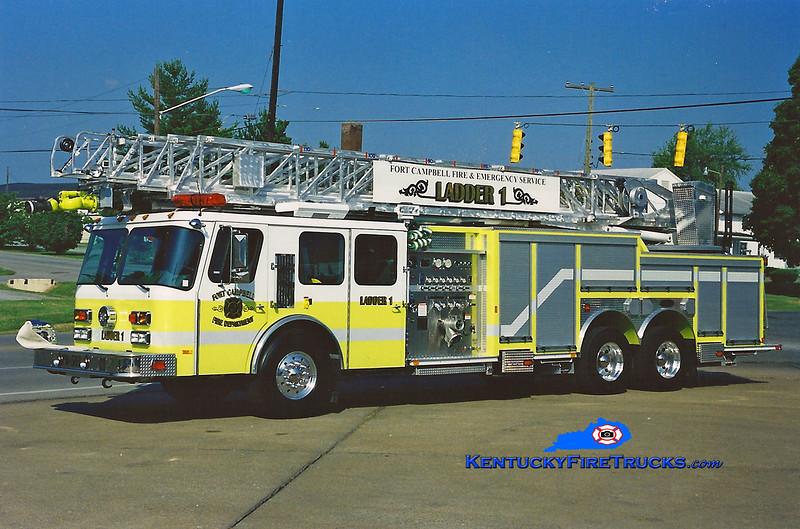 <center> REASSIGNED <br> Fort Campbell  Ladder 1  <br> 2003 E-One Hurricane 1000/300/110' <br> Greg Stapleton photo </center>