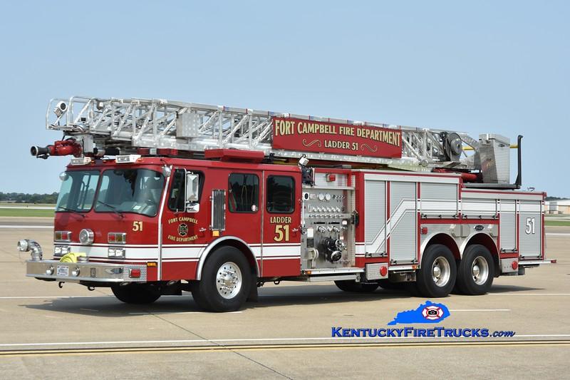 Fort Campbell  Ladder 51<br /> x-Ladders 5 and 1 <br /> 2003/2015 E-One Hurricane 1000/300/110'<br /> Greg Stapleton photo