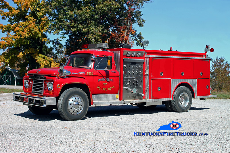 <center> Honey Grove  Engine 1651  <br> x-Westwood, KY <br> 1965 Ford F-950/1985 Allegheny 750/750 <br> Kent Parrish photo </center>