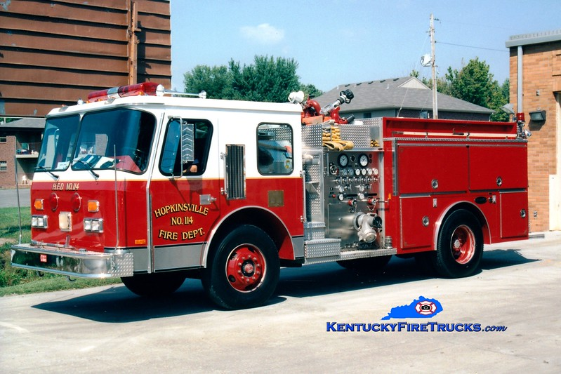 <center> RETIRED <br> Hopkinsville  Engine 114 <br> 1987 E-One Cyclone 1500/1000 <br> Greg Stapleton photo </center>