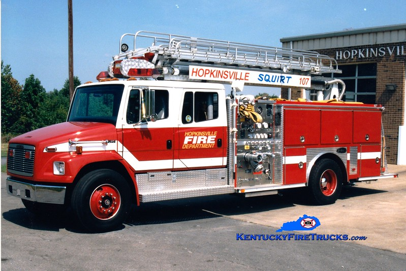 <center> RETIRED <br> Hopkinsville  Squrt 107 <br> 1996 Freightliner/E-One 1250/500/50' Stratospear <br> Greg Stapleton photo </center>