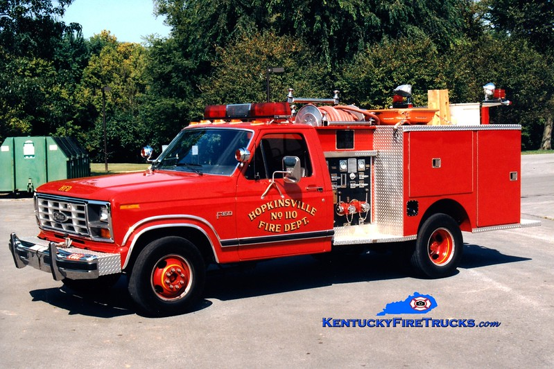 <center> RETIRED <br> Hopkinsville  Engine 110 <br> 1984 Ford F-350 4x4/Pierce  300/250 <br> Greg Stapleton photo </center>