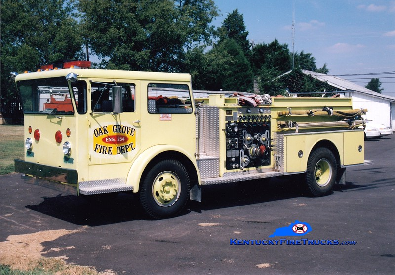 <center> RETIRED <br> Oak Grove Engine 254 <br> x-Fort Campbell, KY <br> 1967 American LaFrance Pioneer/1988 Firesafety 1000/500/50  <br> Greg Stapleton photo </center>