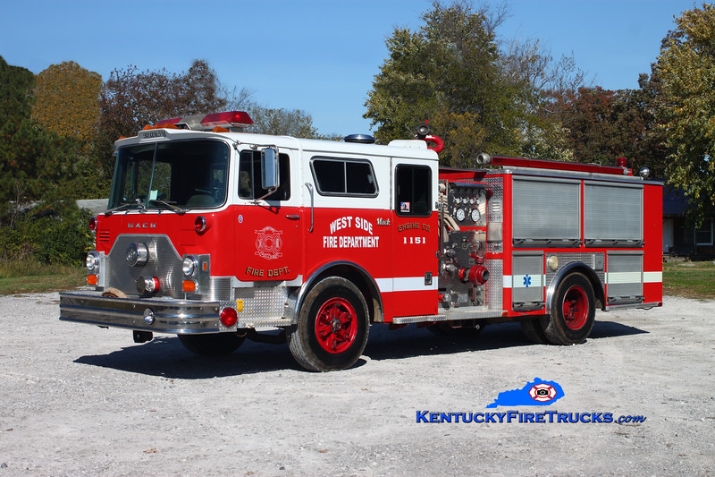 <center> RETIRED <br> West Side  Engine 1151  <br> x-Atlantic City, NJ <br> 1983 Mack CF/Lee's Emergency Equipment 1000/750 <br> Kent Parrish photo </center>