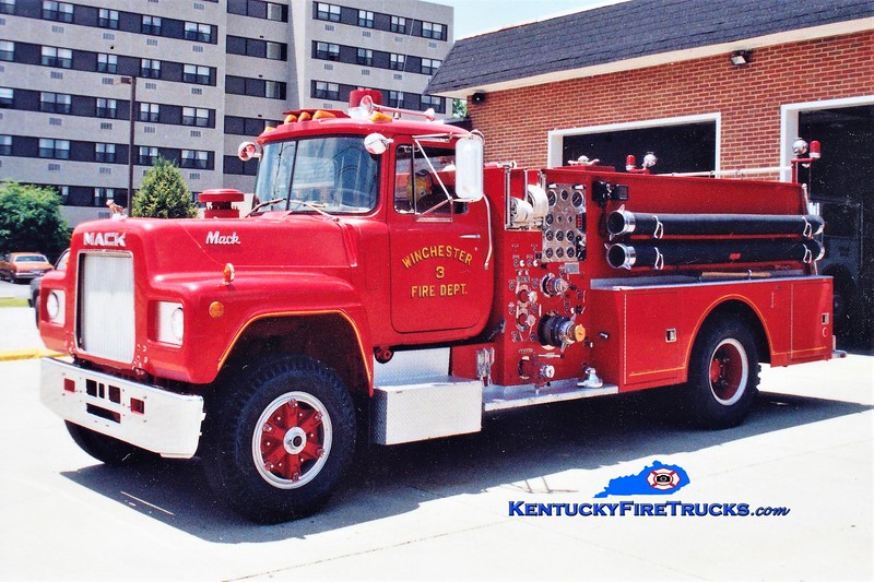 RETIRED<br /> Winchester  Engine 3<br /> 1973 Mack R/Howe 1000/500<br /> Greg Stapleton photo