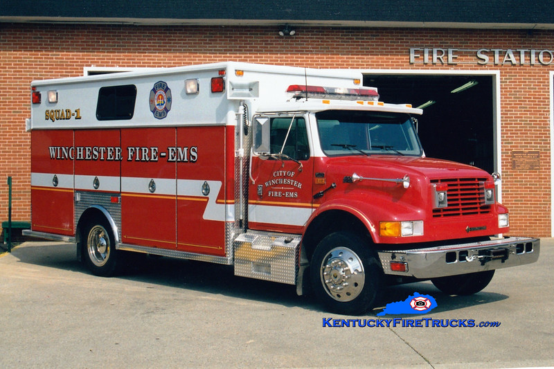 <center> Winchester  Squad 1  <br> 1996 International 4900/EVI  <br> Greg Stapleton photo </center>