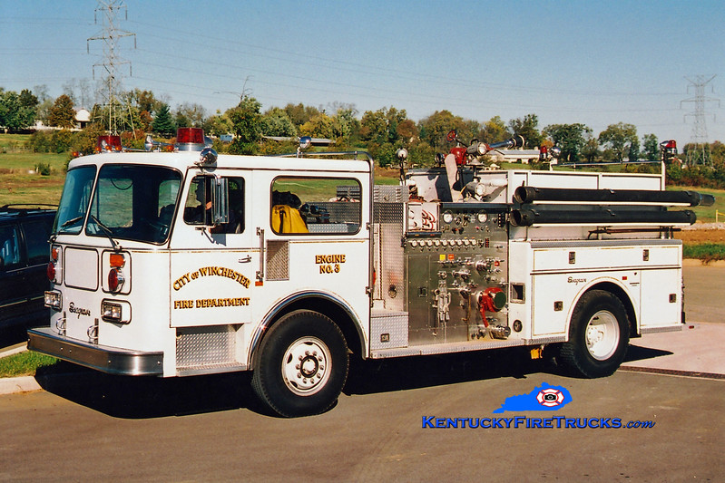 <center> REFURBISHED <br> Winchester  Engine 3  <br> 1984 Seagrave HB 1500/500  <br> Greg Stapleton photo </center>