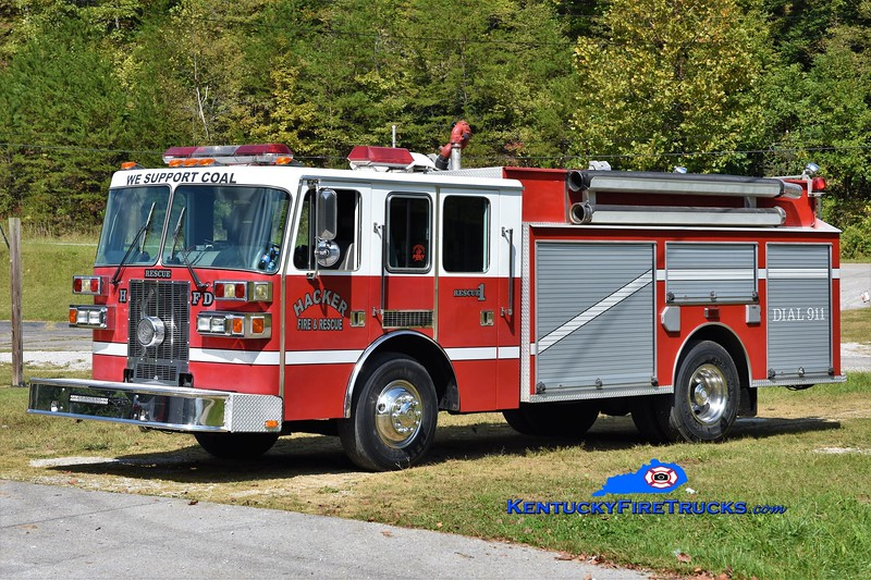 Hacker  Rescue 1<br /> 1995 Sutphen/Clay Fire Equip 1250/1000<br /> x-Forsyth County, GA & Lockards Creek, KY<br /> Greg Stapleton photo