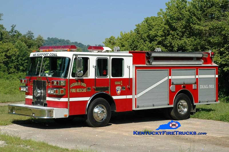 <center> RETIRED <br> Lockards Creek  Squad 1 <br> x-Forsyth County, GA <br> 1995 Sutphen/Clay Fire Equipment 1250/1000  <br> Greg Stapleton photo </center>