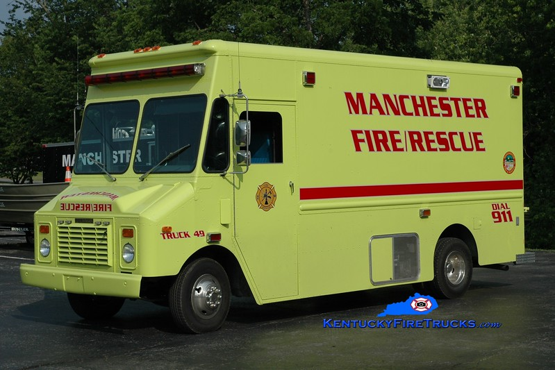 <center> RETIRED <br> Manchester  Truck 49  <br> 1991 Chevy/Grumman-Olson  <br> Greg Stapleton photo </center>