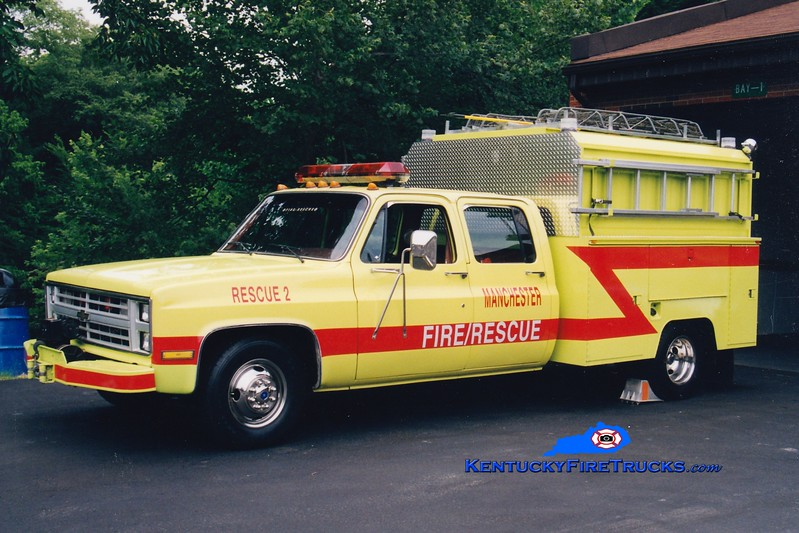 <center> RETIRED <br> Manchester  Rescue 2 <br> 1986 Chevy/Knapheide  <br> Greg Stapleton photo </center>