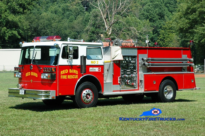 <center> Red Bird  Engine 2 <br> x-Lakeside, OH <br> 1985 Sutphen Deluge 1250/1000  <br> Greg Stapleton photo </center>