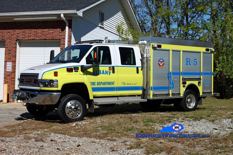 <center> Albany  Rescue 5 <br> 2007 GMC C5500 4x4/Wynn CAFS/250/15 <br> Kent Parrish photo </center>