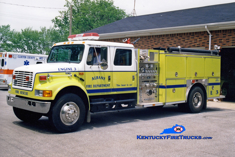 <center> Albany  Engine 3 <br> 1997 International 4900/E-One 1250/1000 <br> Greg Stapleton photo </center>