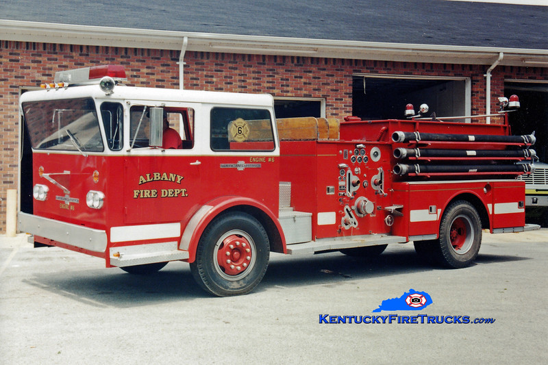 <center> RETIRED <br> Albany  Engine 6 <br> x-Ausable Forks, NY <br> 1969 American LaFrance Pioneer 750/750 <br> Greg Stapleton photo </center>
