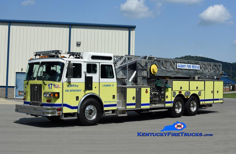 Albany  Ladder 17<br /> x-Erlanger, KY<br /> 1996 Sutphen 1500/500/104'<br /> Kent Parrish photo