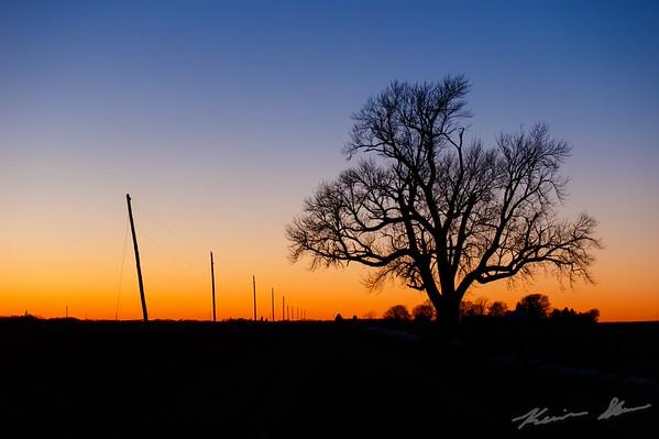 Blazing sunset over the Iowa landscape