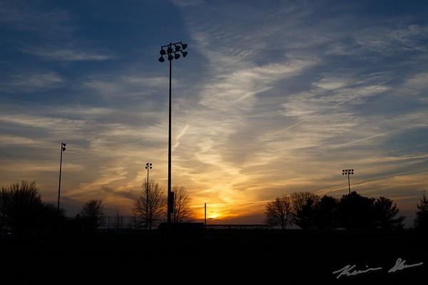 Sunset at the Johnston High School baseball park