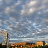 Altocumulus field over the city in the early morning