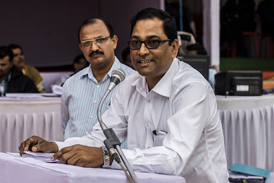 Chattisgarh, India, February 2015:   General manager, mining, Sri Ranjan Prasad Sah of South Eastern Coalfields Limited (SECL) speaks at the public hearing held in Korba.  Photographs for a story on land allocation for coal mines in Chattisgarh.  Modi's new government in the centre has relaxed the environmental regulations so the land can be allocated to both public and private sector companies easily.   Photo by Sami Siva for Al Jazeera America.