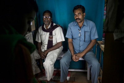Chattisgarh, India, February 2015:   Krishnalal Sao lost his 4 acre land to JSPL  ( left) and Raghunath Chaudhry  (R) fromTamnar  speak to AJAM.   Photographs for a story on land allocation for coal mines in Chattisgarh.  Modi's new government in the centre has relaxed the environmental regulations so the land can be allocated to both public and private sector companies easily.   Photo by Sami Siva for Al Jazeera America.