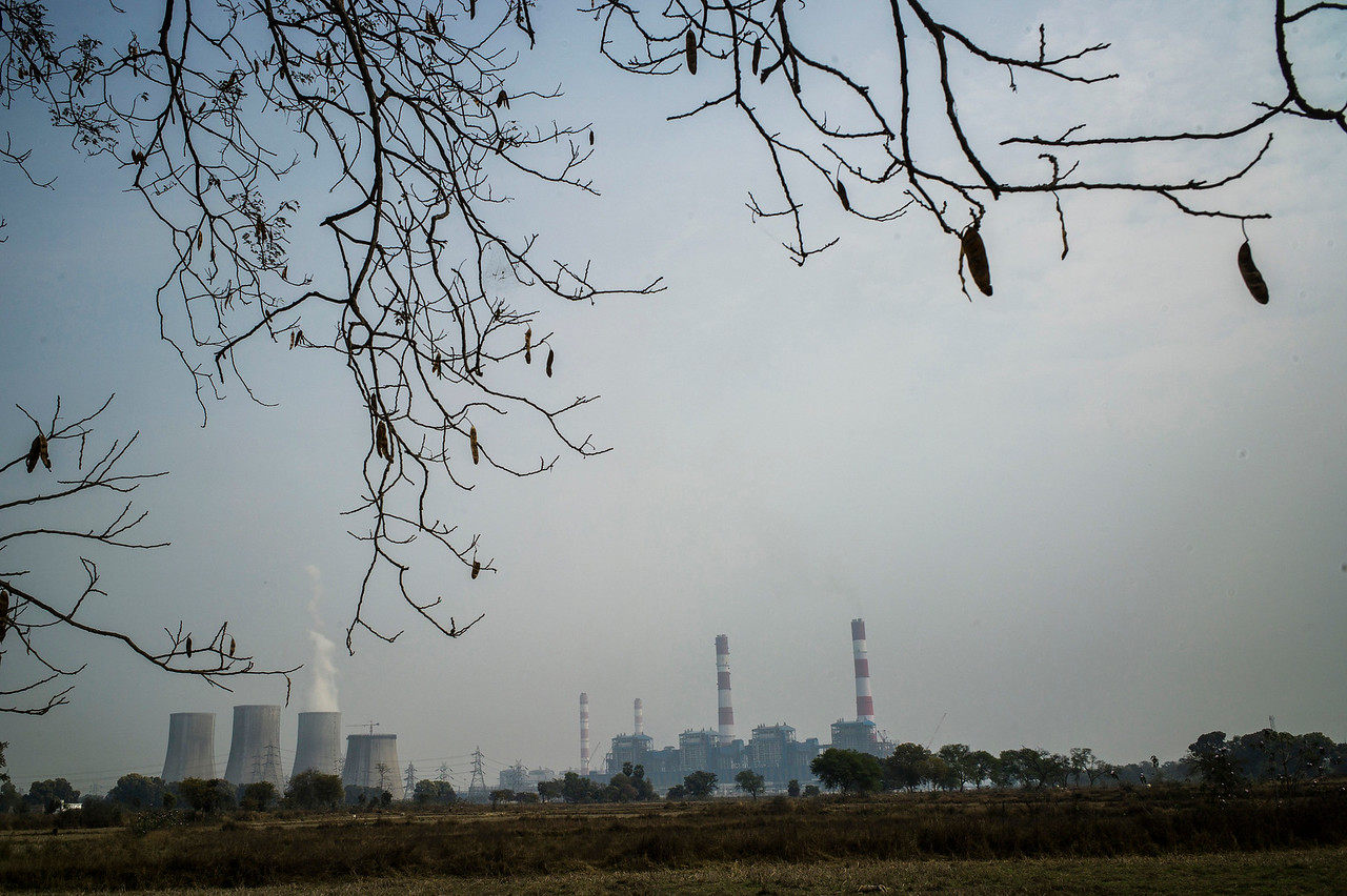 Chattisgarh, India, February 2015:   View of Jindal power plant outside of Raigarh in Chattisgarh.   Photographs for a story on land allocation for coal mines in Chattisgarh.  Modi's new government in the centre has relaxed the environmental regulations so the land can be allocated to both public and private sector companies easily.   Photo by Sami Siva for Al Jazeera America.