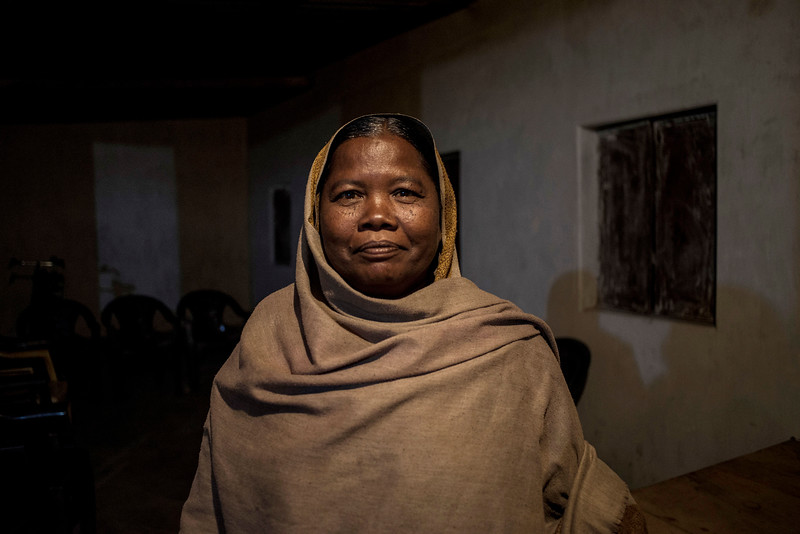 Chattisgarh, India, February 2015:   The Chief of Pali Village Kamala Bai,  poses for a portrait at her home Near Korba, a large coal mining town.   Photographs for a story on land allocation for coal mines in Chattisgarh.  Modi's new government in the centre has relaxed the environmental regulations so the land can be allocated to both public and private sector companies easily.   Photo by Sami Siva for Al Jazeera America.