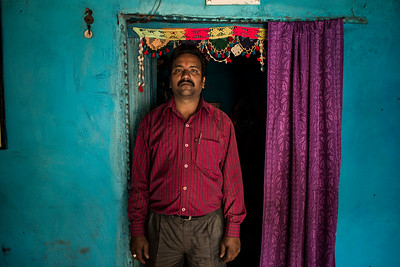 Chattisgarh, India, February 2015:   Kanhaiya Singh, community leader, Sarasmal village,poses for a photograph at his home.    Photographs for a story on land allocation for coal mines in Chattisgarh.  Modi's new government in the centre has relaxed the environmental regulations so the land can be allocated to both public and private sector companies easily.   Photo by Sami Siva for Al Jazeera America.
