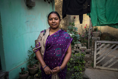 Chattisgarh, India, February 2015:   Nurse Tarika Lakra from Tamnar lost her  her land to Jindal Steel and Power Limted.   Photographs for a story on land allocation for coal mines in Chattisgarh.  Modi's new government in the centre has relaxed the environmental regulations so the land can be allocated to both public and private sector companies easily.   Photo by Sami Siva for Al Jazeera America.