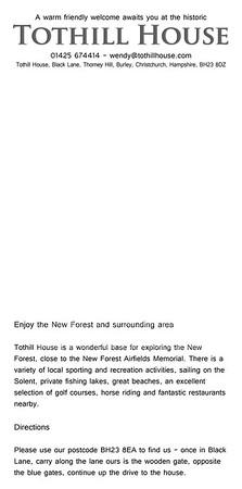 Tothill House B&B Leaflet