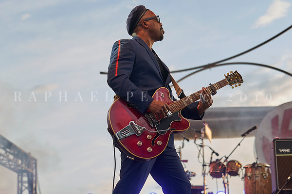 Delgres trio outdoor concert during Jazz à Juan Festival in Pinede Gould stage. July 2019. Leader Pascal Danaë (guitar and vocal).