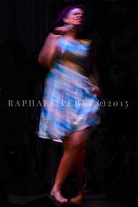 Agathe Iracema and his Brazilian Band at 360 Paris Music Factory.  Blurry view of  Agathe dancing. October 2020