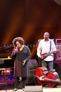 Dianne Reeves concert in Paris during Jazz à la Villette festival; September 2017. Double bass  Reginald Veal in background